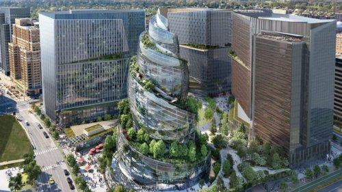 Небоскреб-ракушка, поросшая деревьями: Amazon показала проект кампуса в Вир...