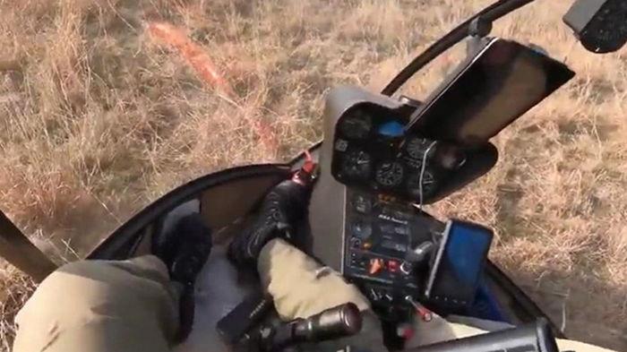 Пилот снял видео падения вертолета из кабины