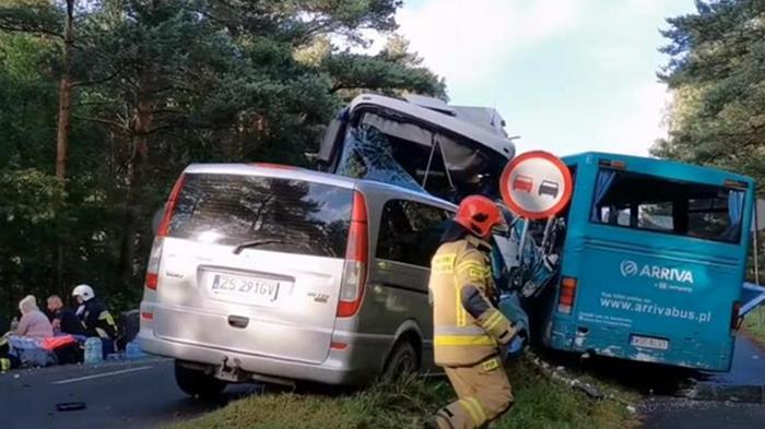 В Польше пострадали 14 человек в тройном ДТП (видео)