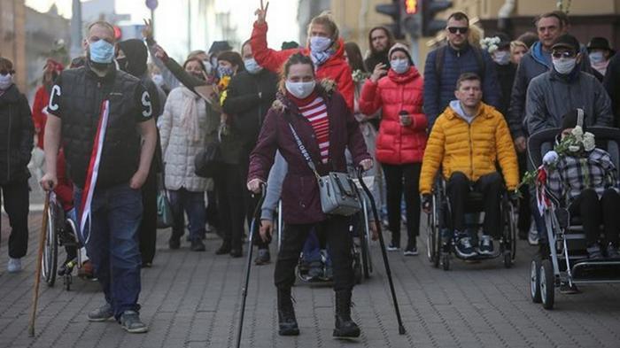 В Минске на протест вышли люди с инвалидностью (видео)