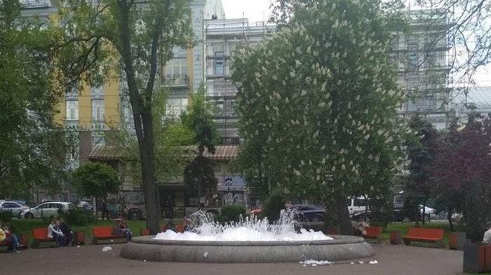 В первый день работы фонтанов в Киеве в один налили мыла (фото)