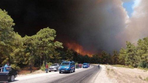 В Анталии лесные пожары подобрались к городам (видео)